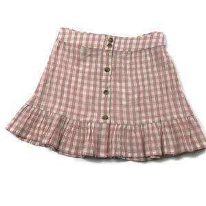 💥 TopShop Pink Gingham Ruffle Mini Skirt 6 NWT